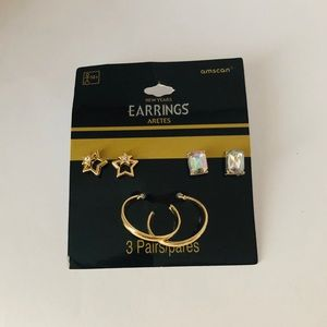 3 Pairs of gold tone earrings